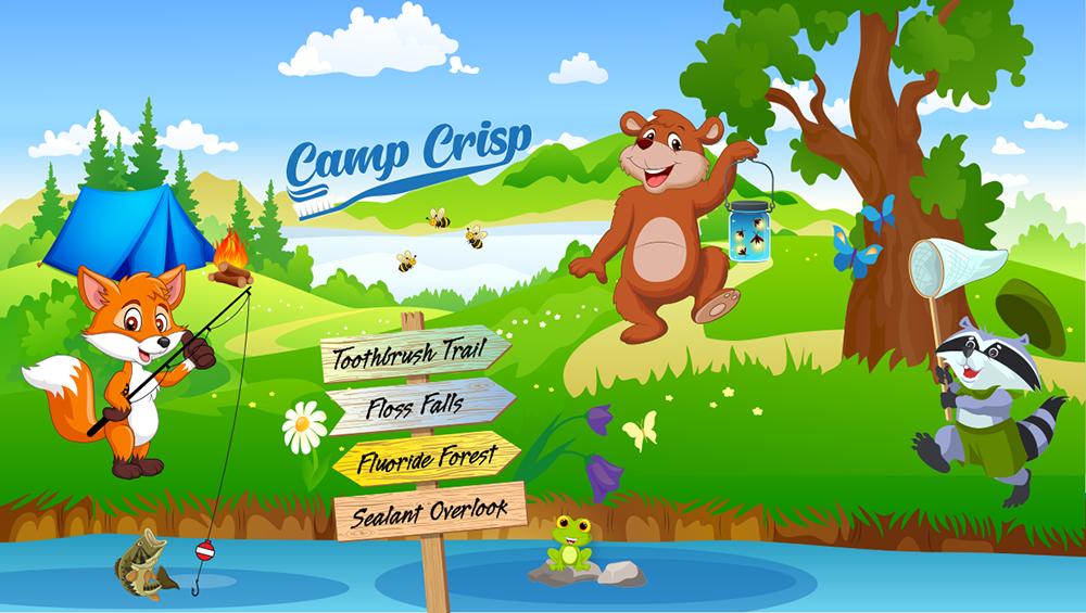 Camp Crisp illustration for Crisp & Associates Pediatric Dentists in Burlington, NC